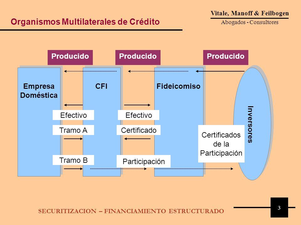 3 Vitale, Manoff & Feilbogen Abogados - Consultores SECURITIZACION – FINANCIAMIENTO ESTRUCTURADO Empresa Doméstica CFI Fideicomiso Inversores Producid