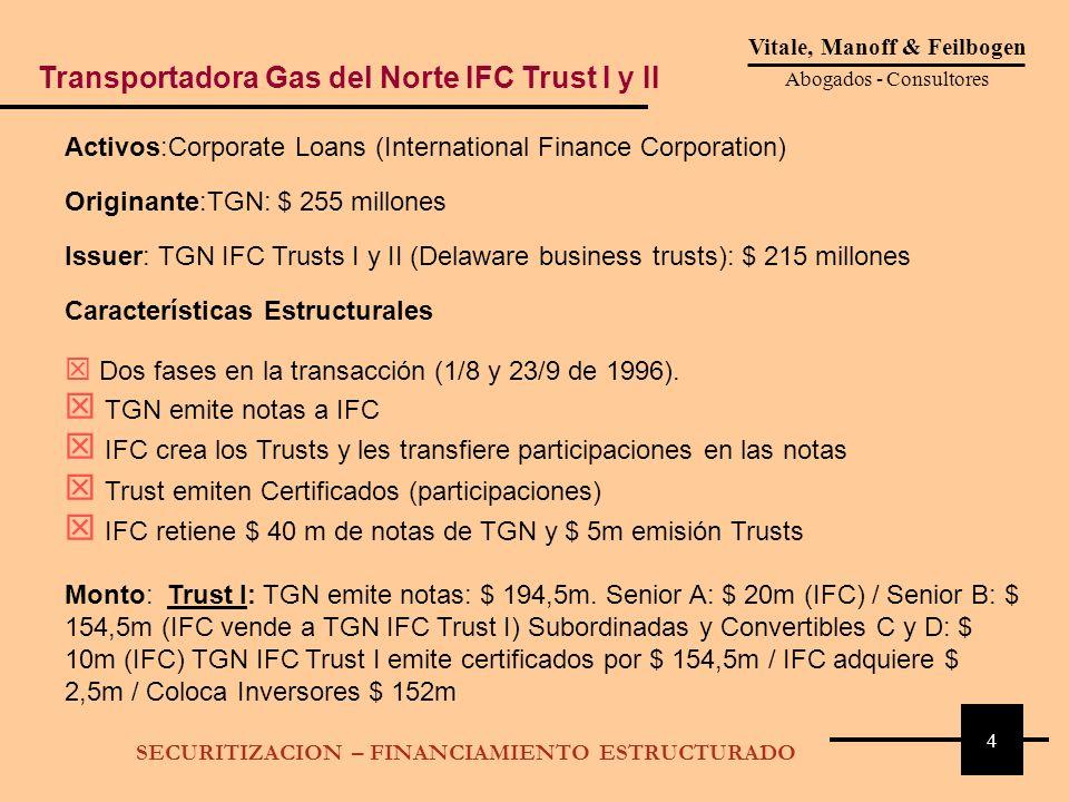 4 Vitale, Manoff & Feilbogen Abogados - Consultores SECURITIZACION – FINANCIAMIENTO ESTRUCTURADO Activos:Corporate Loans (International Finance Corpor