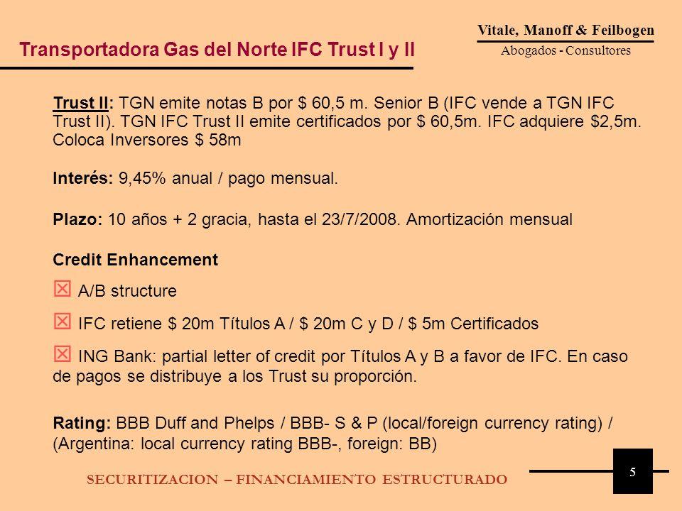 5 Vitale, Manoff & Feilbogen Abogados - Consultores SECURITIZACION – FINANCIAMIENTO ESTRUCTURADO Trust II: TGN emite notas B por $ 60,5 m. Senior B (I