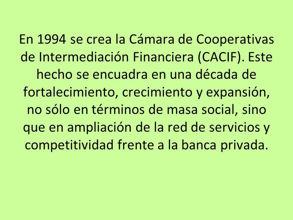 En 1994 se crea la Cámara de Cooperativas de Intermediación Financiera (CACIF). Este hecho se encuadra en una década de fortalecimiento, crecimiento y