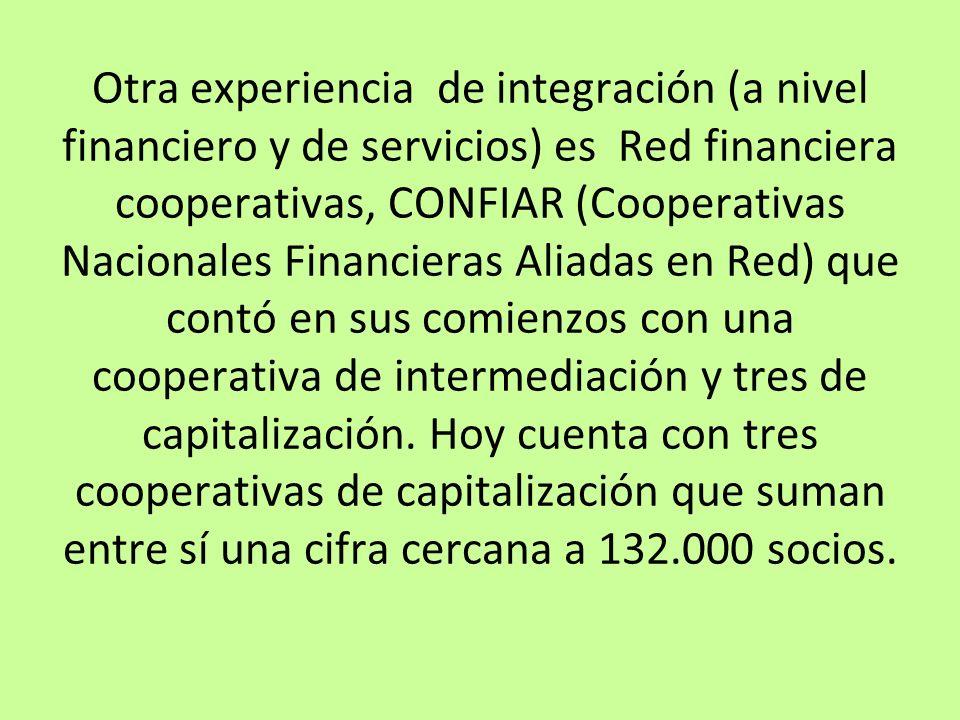 Otra experiencia de integración (a nivel financiero y de servicios) es Red financiera cooperativas, CONFIAR (Cooperativas Nacionales Financieras Aliad