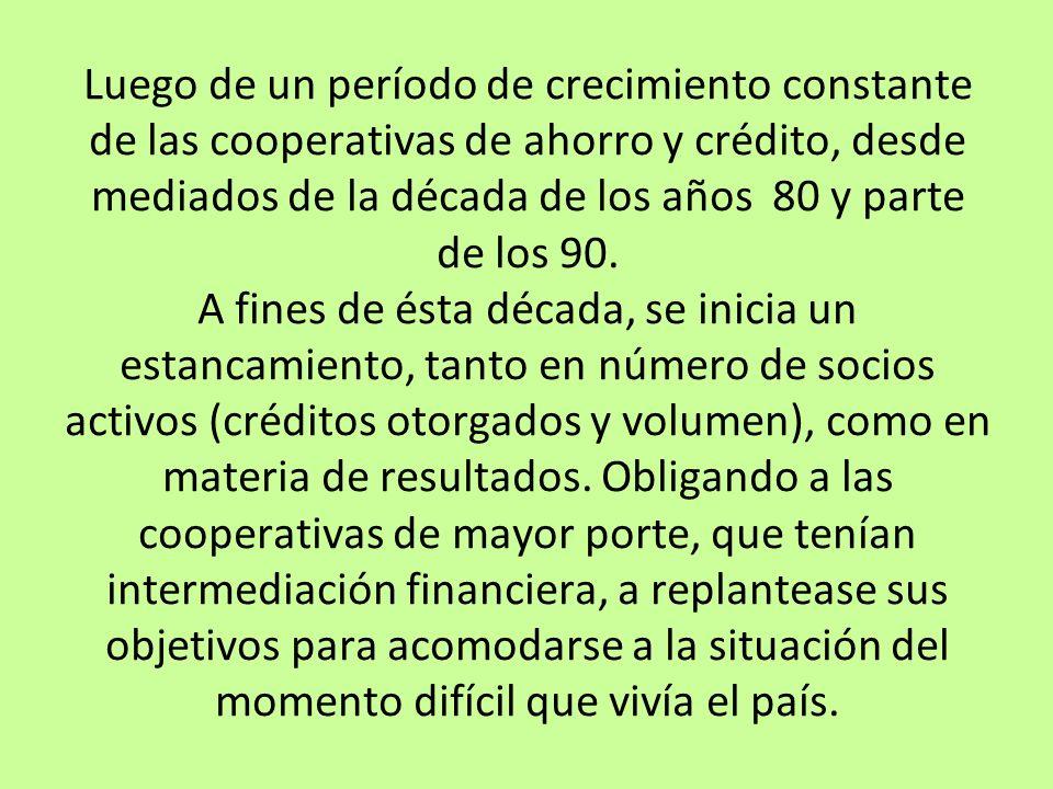 Luego de un período de crecimiento constante de las cooperativas de ahorro y crédito, desde mediados de la década de los años 80 y parte de los 90. A
