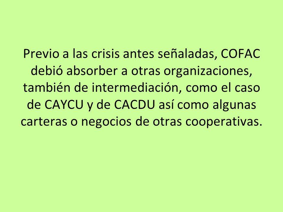 Previo a las crisis antes señaladas, COFAC debió absorber a otras organizaciones, también de intermediación, como el caso de CAYCU y de CACDU así como