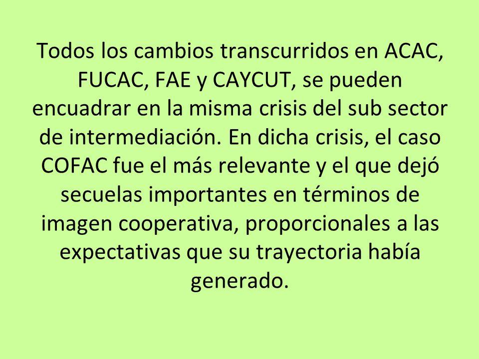 Todos los cambios transcurridos en ACAC, FUCAC, FAE y CAYCUT, se pueden encuadrar en la misma crisis del sub sector de intermediación. En dicha crisis