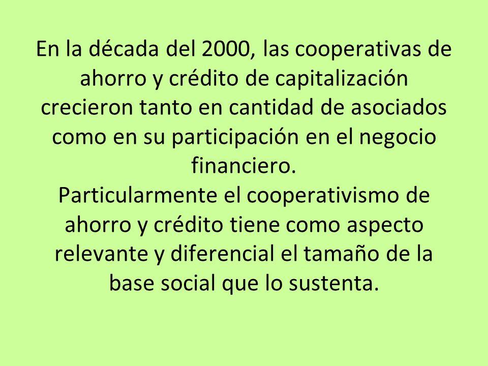 En la década del 2000, las cooperativas de ahorro y crédito de capitalización crecieron tanto en cantidad de asociados como en su participación en el