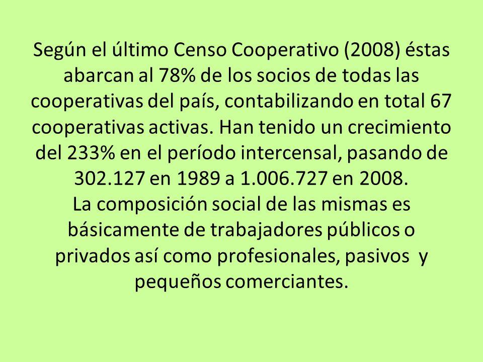 Según el último Censo Cooperativo (2008) éstas abarcan al 78% de los socios de todas las cooperativas del país, contabilizando en total 67 cooperativa