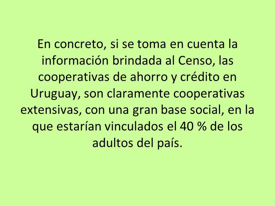 En concreto, si se toma en cuenta la información brindada al Censo, las cooperativas de ahorro y crédito en Uruguay, son claramente cooperativas exten