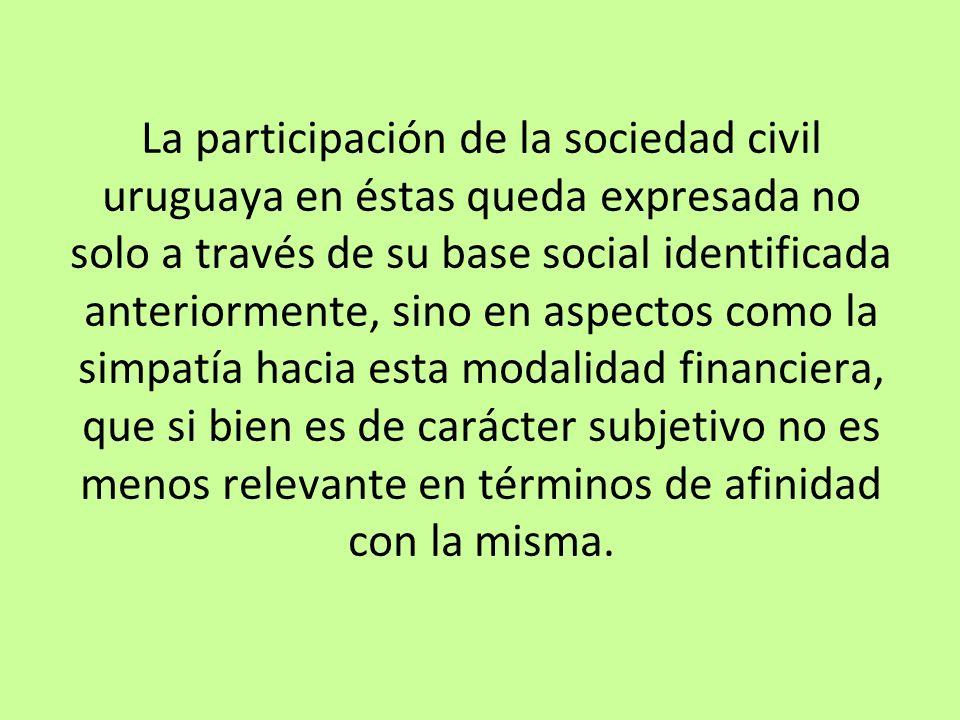 La participación de la sociedad civil uruguaya en éstas queda expresada no solo a través de su base social identificada anteriormente, sino en aspecto