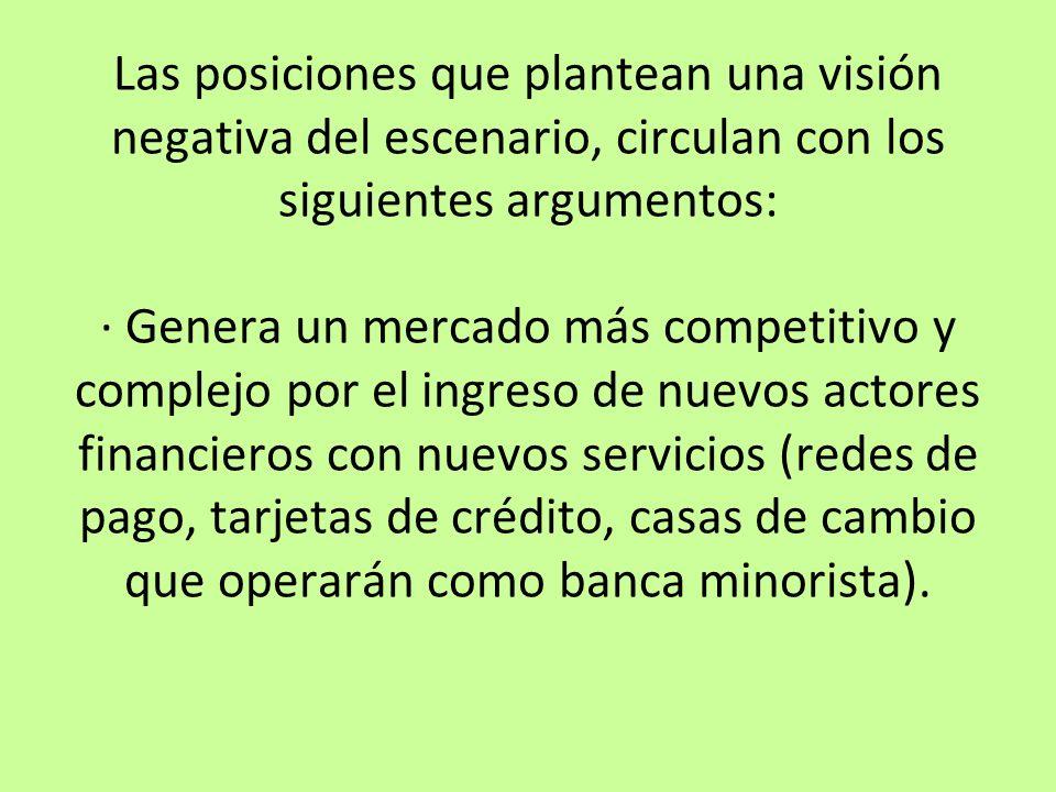 Las posiciones que plantean una visión negativa del escenario, circulan con los siguientes argumentos: · Genera un mercado más competitivo y complejo