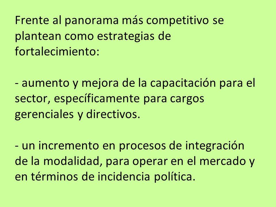 Frente al panorama más competitivo se plantean como estrategias de fortalecimiento: - aumento y mejora de la capacitación para el sector, específicame
