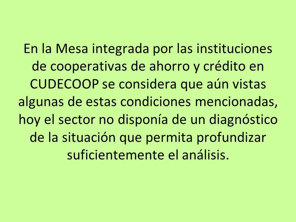 En la Mesa integrada por las instituciones de cooperativas de ahorro y crédito en CUDECOOP se considera que aún vistas algunas de estas condiciones me
