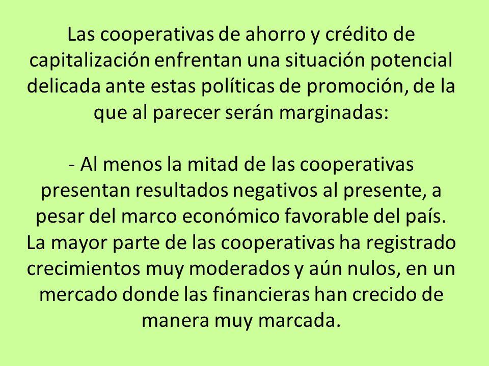 Las cooperativas de ahorro y crédito de capitalización enfrentan una situación potencial delicada ante estas políticas de promoción, de la que al pare