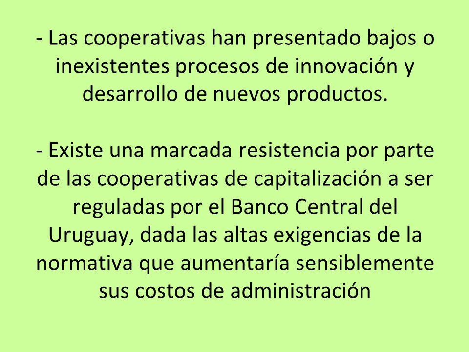 - Las cooperativas han presentado bajos o inexistentes procesos de innovación y desarrollo de nuevos productos. - Existe una marcada resistencia por p
