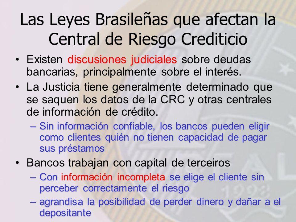 Las Leyes Brasileñas que afectan la Central de Riesgo Crediticio discusiones judicialesExisten discusiones judiciales sobre deudas bancarias, principalmente sobre el interés.