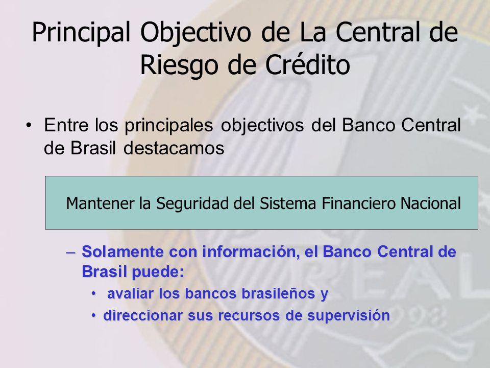 Principal Objectivo de La Central de Riesgo de Crédito Entre los principales objectivos del Banco Central de Brasil destacamos Mantener la Seguridad del Sistema Financiero Nacional –Solamente con información, el Banco Central de Brasil puede: avaliar los bancos brasileños y avaliar los bancos brasileños y direccionar sus recursos de supervisióndireccionar sus recursos de supervisión