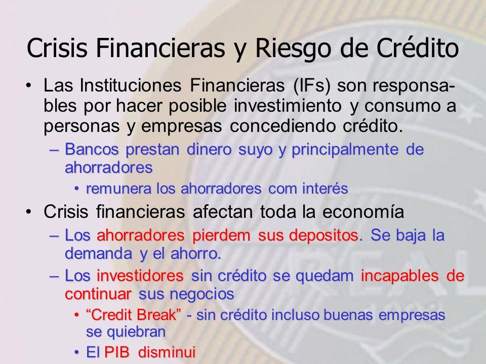 Crisis Financieras y Riesgo de Crédito Las Instituciones Financieras (IFs) son responsa- bles por hacer posible investimiento y consumo a personas y empresas concediendo crédito.