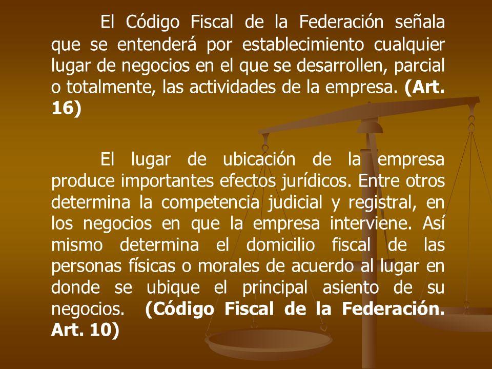 El Código Fiscal de la Federación señala que se entenderá por establecimiento cualquier lugar de negocios en el que se desarrollen, parcial o totalmen