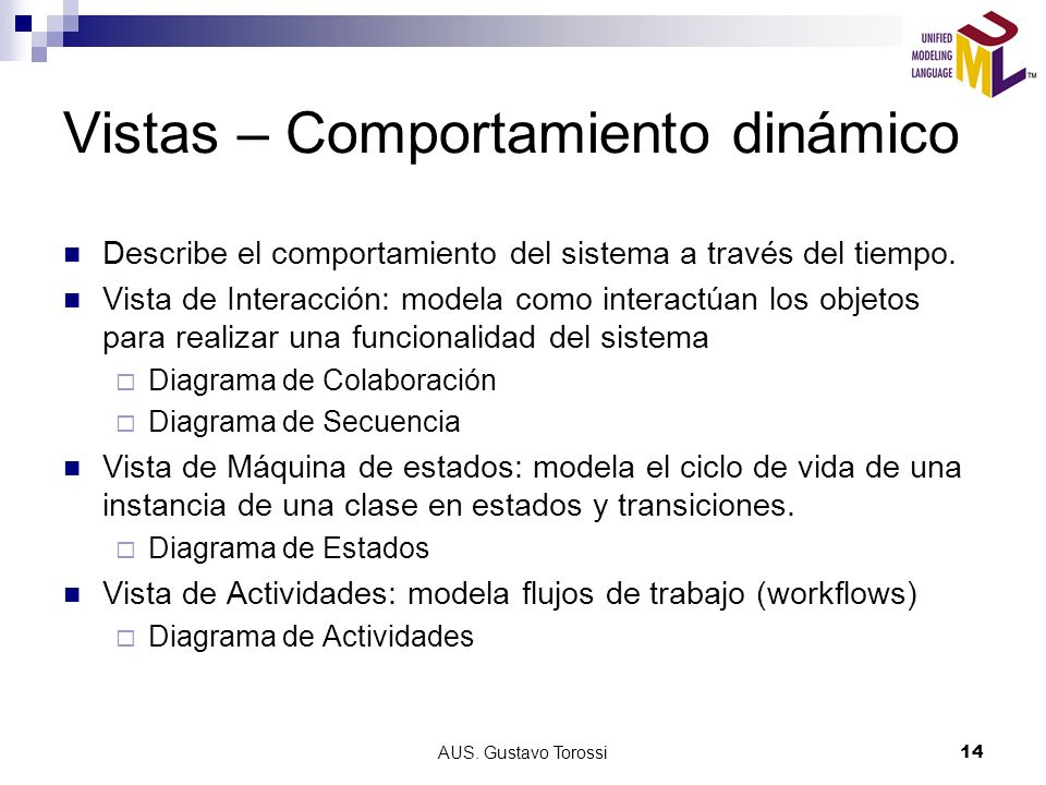 AUS. Gustavo Torossi14 Vistas – Comportamiento dinámico Describe el comportamiento del sistema a través del tiempo. Vista de Interacción: modela como