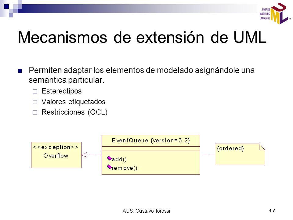 AUS. Gustavo Torossi17 Mecanismos de extensión de UML Permiten adaptar los elementos de modelado asignándole una semántica particular. Estereotipos Va