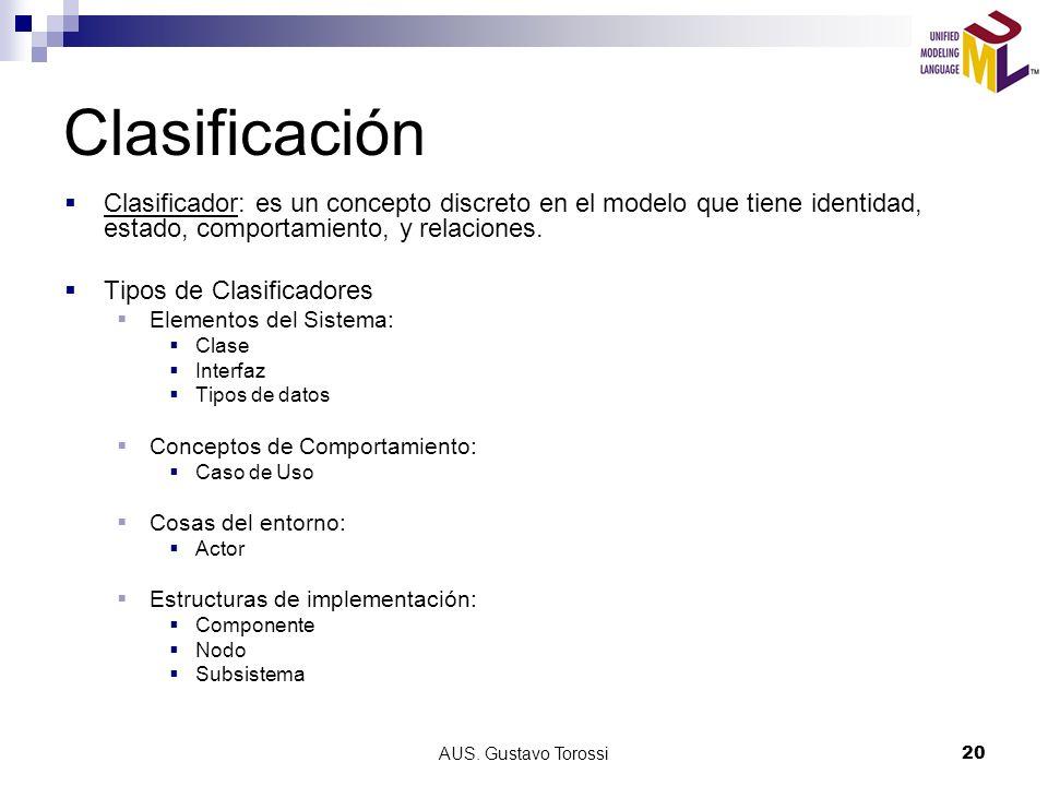 AUS. Gustavo Torossi20 Clasificación Clasificador: es un concepto discreto en el modelo que tiene identidad, estado, comportamiento, y relaciones. Tip
