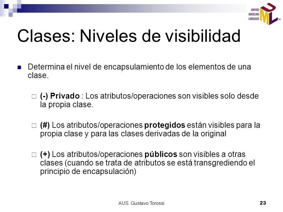AUS. Gustavo Torossi23 Clases: Niveles de visibilidad Determina el nivel de encapsulamiento de los elementos de una clase. (-) Privado : Los atributos