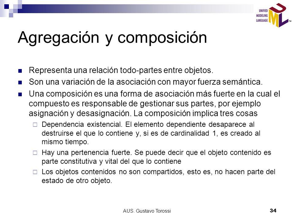 AUS.Gustavo Torossi34 Agregación y composición Representa una relación todo-partes entre objetos.