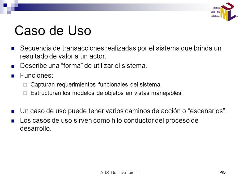 AUS. Gustavo Torossi45 Caso de Uso Secuencia de transacciones realizadas por el sistema que brinda un resultado de valor a un actor. Describe una form