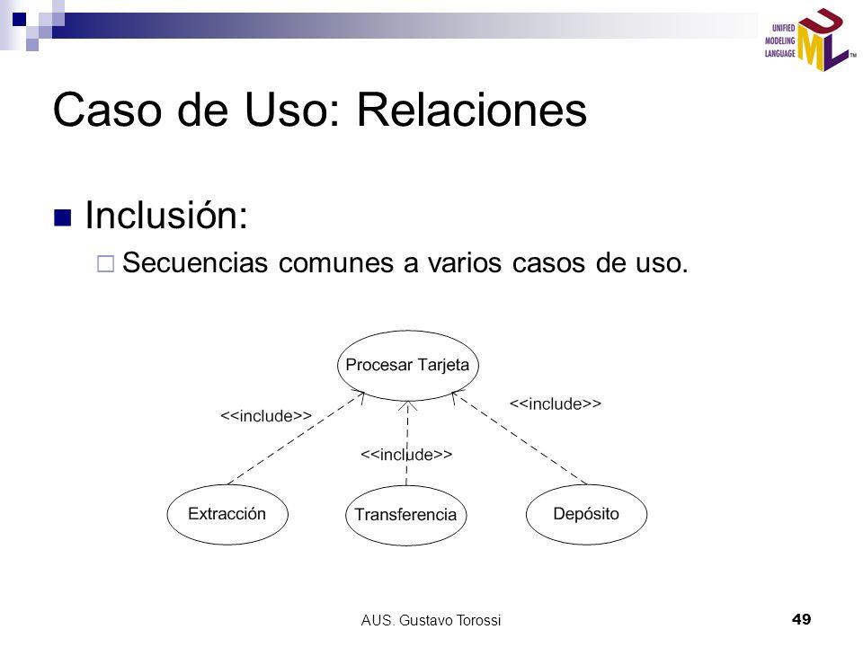 AUS. Gustavo Torossi49 Caso de Uso: Relaciones Inclusión: Secuencias comunes a varios casos de uso.