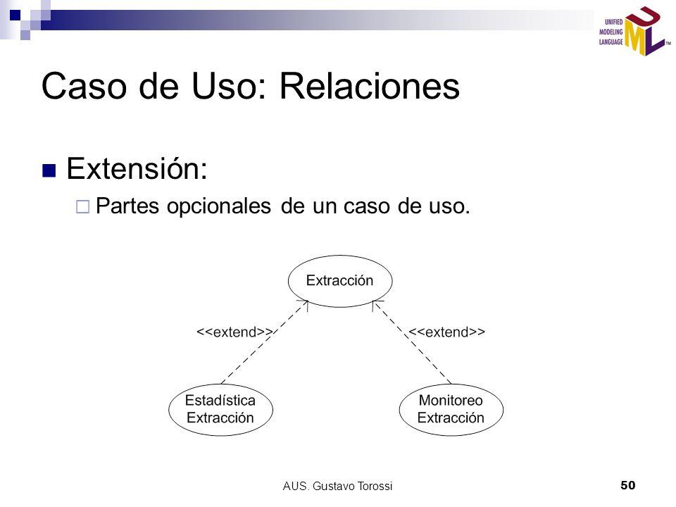 AUS. Gustavo Torossi50 Caso de Uso: Relaciones Extensión: Partes opcionales de un caso de uso.