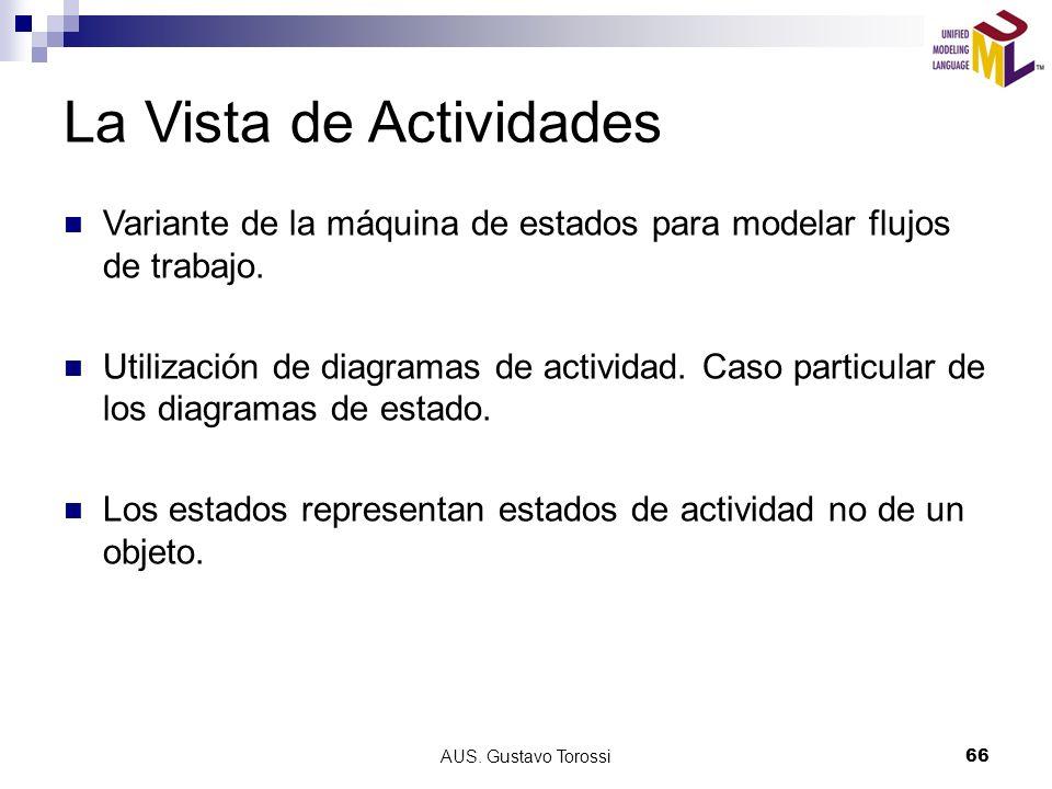 AUS. Gustavo Torossi66 La Vista de Actividades Variante de la máquina de estados para modelar flujos de trabajo. Utilización de diagramas de actividad