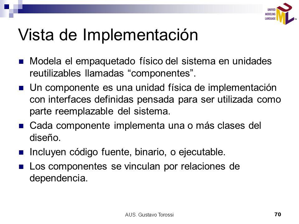 AUS. Gustavo Torossi70 Vista de Implementación Modela el empaquetado físico del sistema en unidades reutilizables llamadas componentes. Un componente