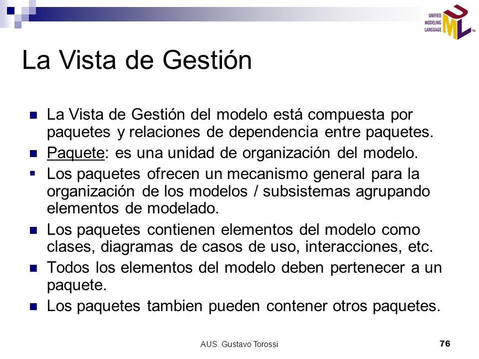 AUS. Gustavo Torossi76 La Vista de Gestión La Vista de Gestión del modelo está compuesta por paquetes y relaciones de dependencia entre paquetes. Paqu
