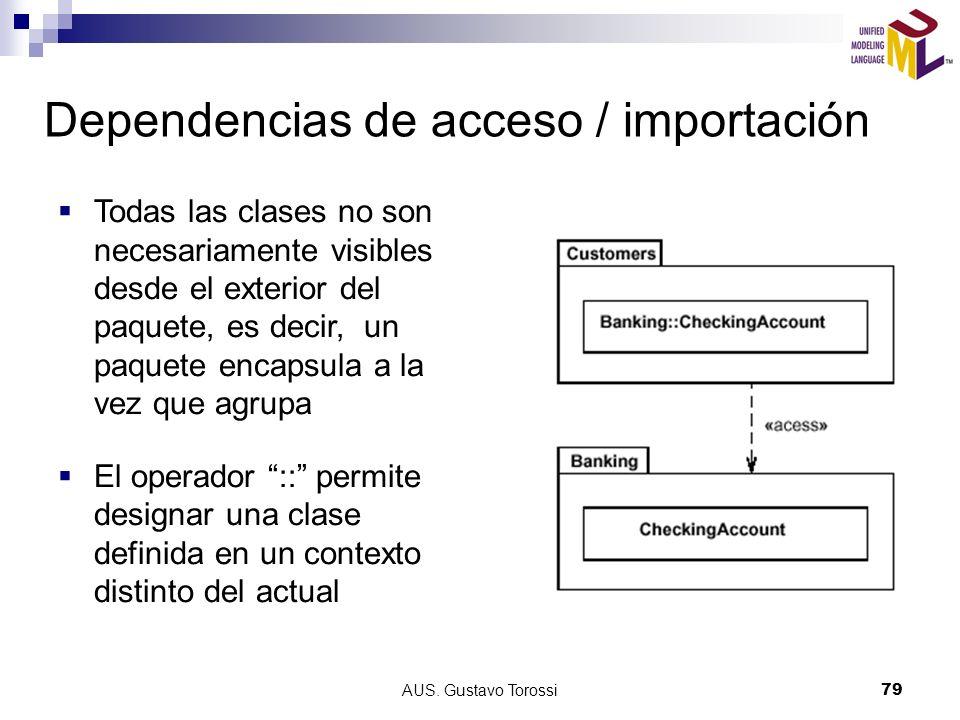 AUS. Gustavo Torossi79 Dependencias de acceso / importación Todas las clases no son necesariamente visibles desde el exterior del paquete, es decir, u