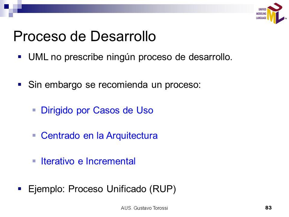 AUS.Gustavo Torossi83 Proceso de Desarrollo UML no prescribe ningún proceso de desarrollo.