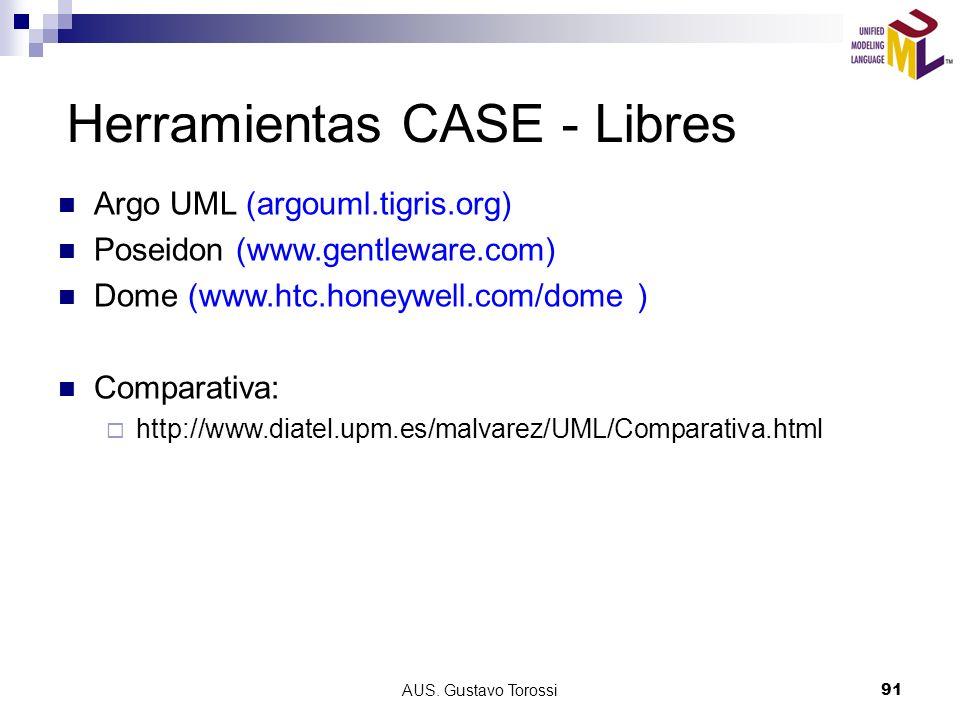 AUS. Gustavo Torossi91 Herramientas CASE - Libres Argo UML (argouml.tigris.org) Poseidon (www.gentleware.com) Dome (www.htc.honeywell.com/dome ) Compa