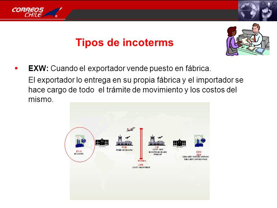 Tipos de incoterms EXW: Cuando el exportador vende puesto en fábrica. El exportador lo entrega en su propia fábrica y el importador se hace cargo de t