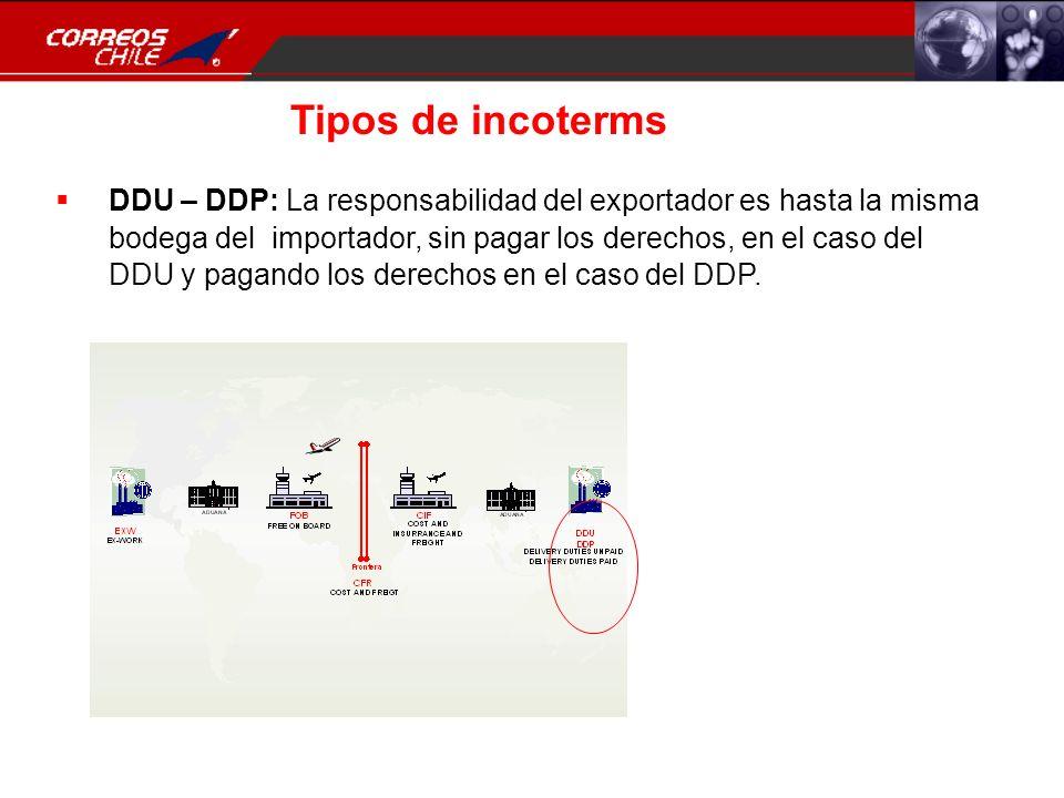 Tipos de incoterms DDU – DDP: La responsabilidad del exportador es hasta la misma bodega del importador, sin pagar los derechos, en el caso del DDU y
