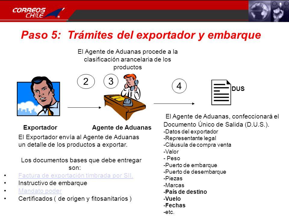 Paso 5: Trámites del exportador y embarque Exportador Agente de Aduanas 2 El Exportador envía al Agente de Aduanas un detalle de los productos a expor