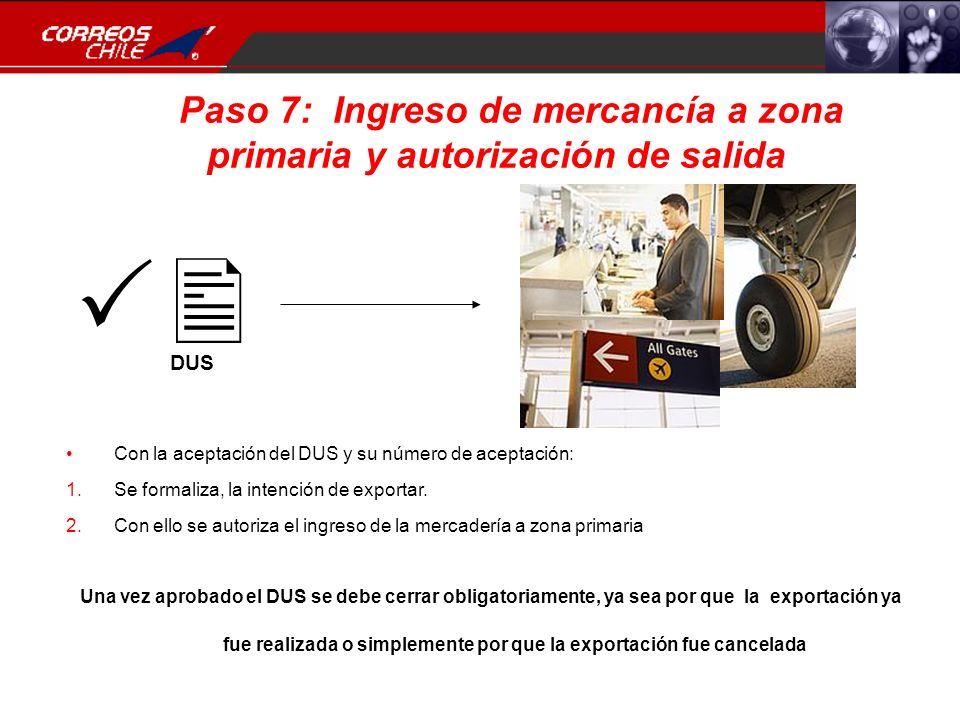 Paso 7: Ingreso de mercancía a zona primaria y autorización de salida.. DUS Con la aceptación del DUS y su número de aceptación: 1.Se formaliza, la in
