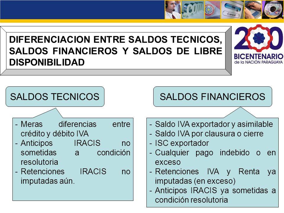 DIFERENCIACION ENTRE SALDOS TECNICOS, SALDOS FINANCIEROS Y SALDOS DE LIBRE DISPONIBILIDAD SALDOS TECNICOSSALDOS FINANCIEROS -Meras diferencias entre c