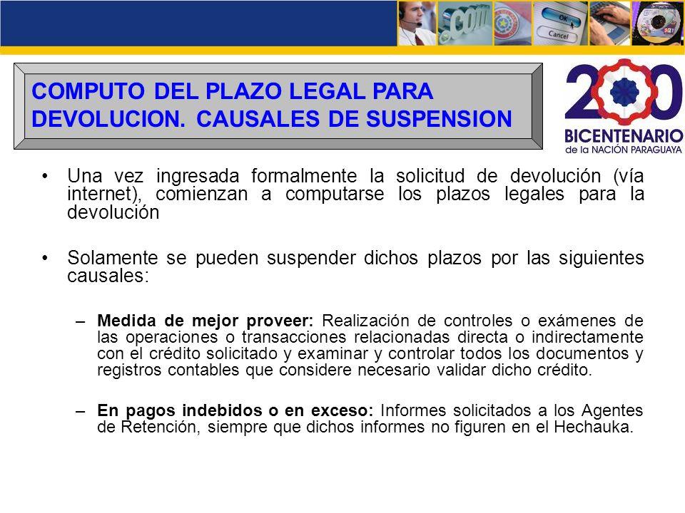 COMPUTO DEL PLAZO LEGAL PARA DEVOLUCION. CAUSALES DE SUSPENSION Una vez ingresada formalmente la solicitud de devolución (vía internet), comienzan a c