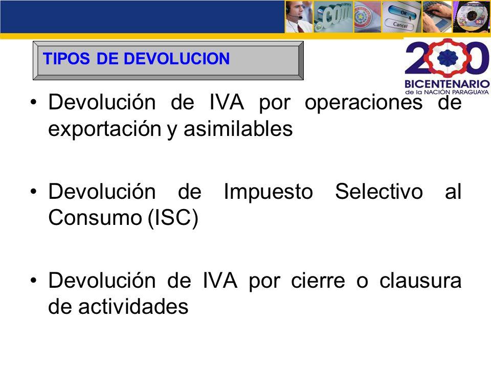 Devolución de IVA por operaciones de exportación y asimilables Devolución de Impuesto Selectivo al Consumo (ISC) Devolución de IVA por cierre o clausu