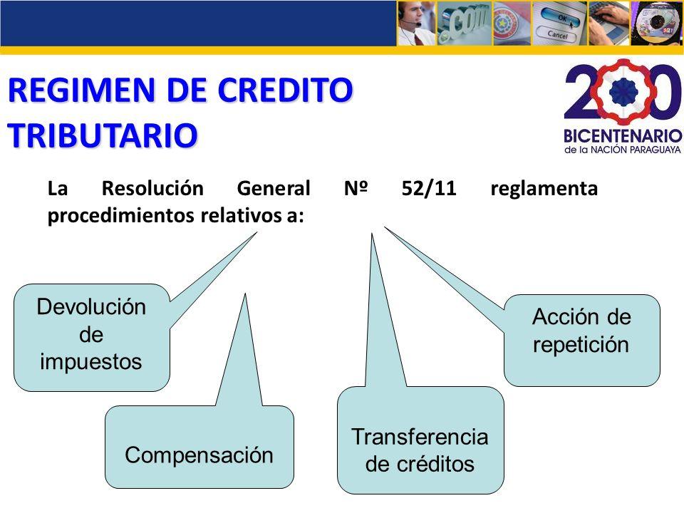 REGIMEN DE CREDITO TRIBUTARIO La Resolución General Nº 52/11 reglamenta procedimientos relativos a: Devolución de impuestos Transferencia de créditos
