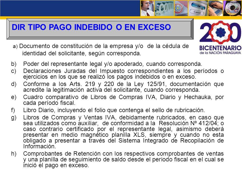 DIR TIPO PAGO INDEBIDO O EN EXCESO b)Poder del representante legal y/o apoderado, cuando corresponda. c)Declaraciones Juradas del Impuesto correspondi