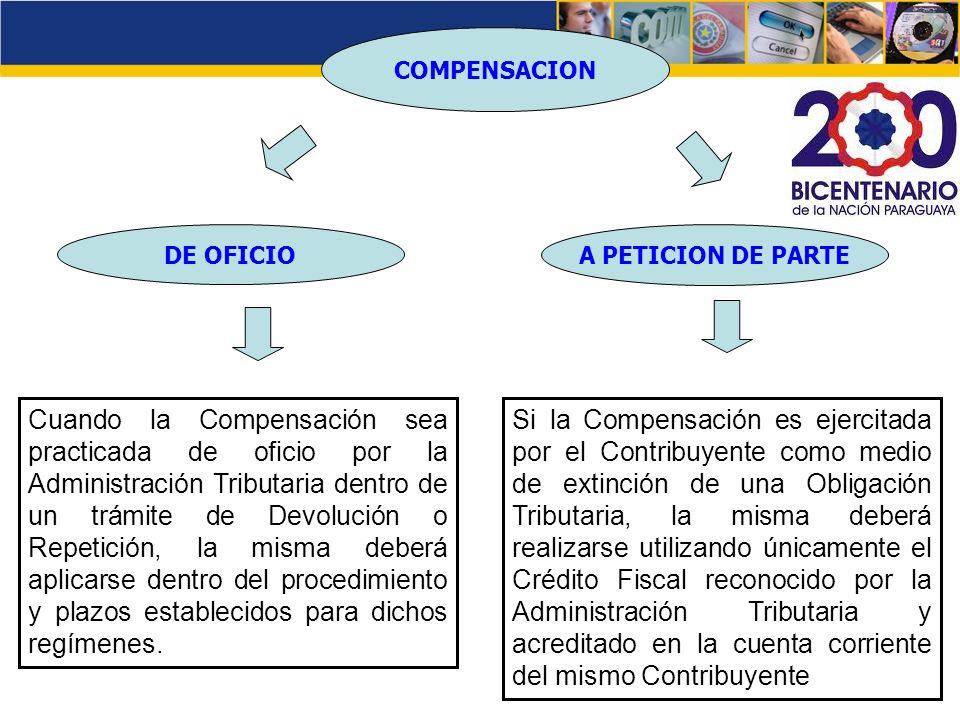 COMPENSACION DE OFICIO A PETICION DE PARTE Cuando la Compensación sea practicada de oficio por la Administración Tributaria dentro de un trámite de De