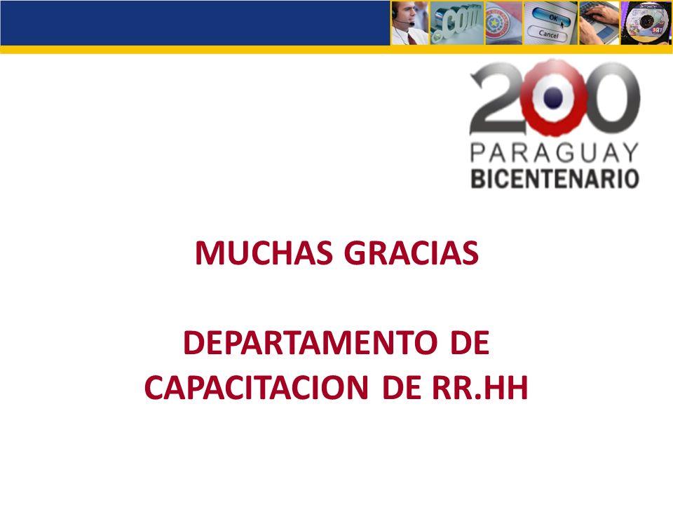 MUCHAS GRACIAS DEPARTAMENTO DE CAPACITACION DE RR.HH