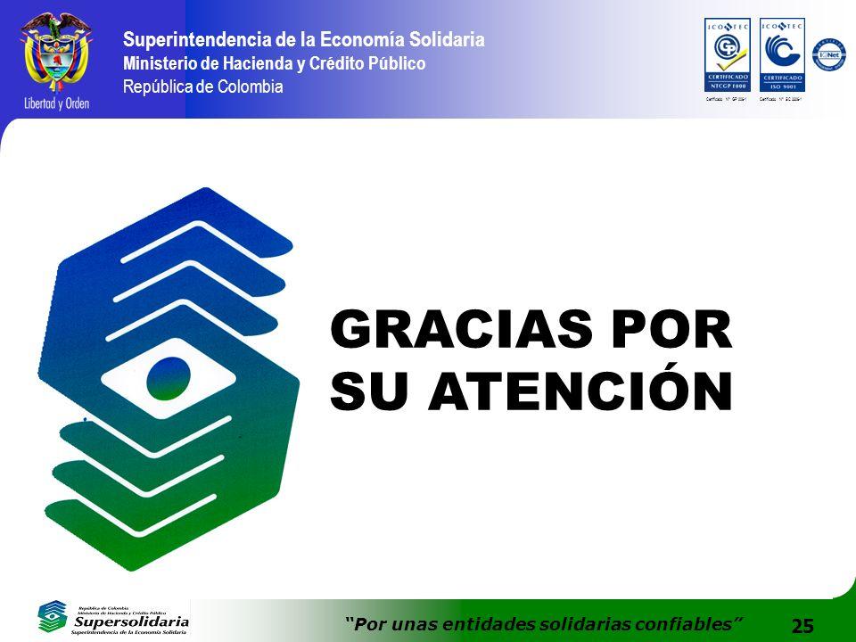 25 Superintendencia de la Economía Solidaria Ministerio de Hacienda y Crédito Público República de Colombia Por unas entidades solidarias confiables C