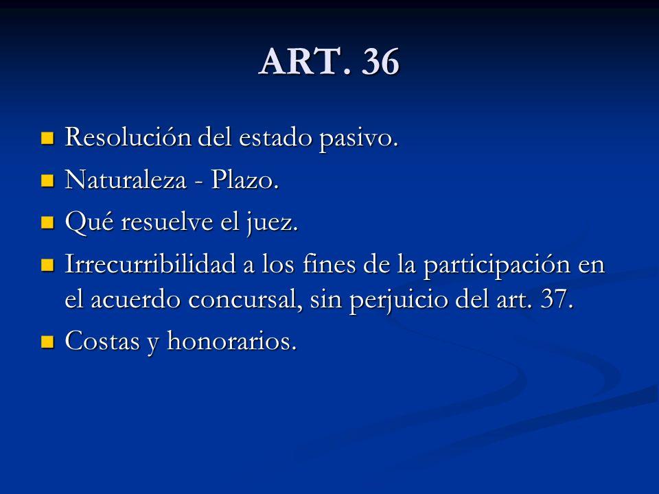 ART.36 Resolución del estado pasivo. Resolución del estado pasivo.