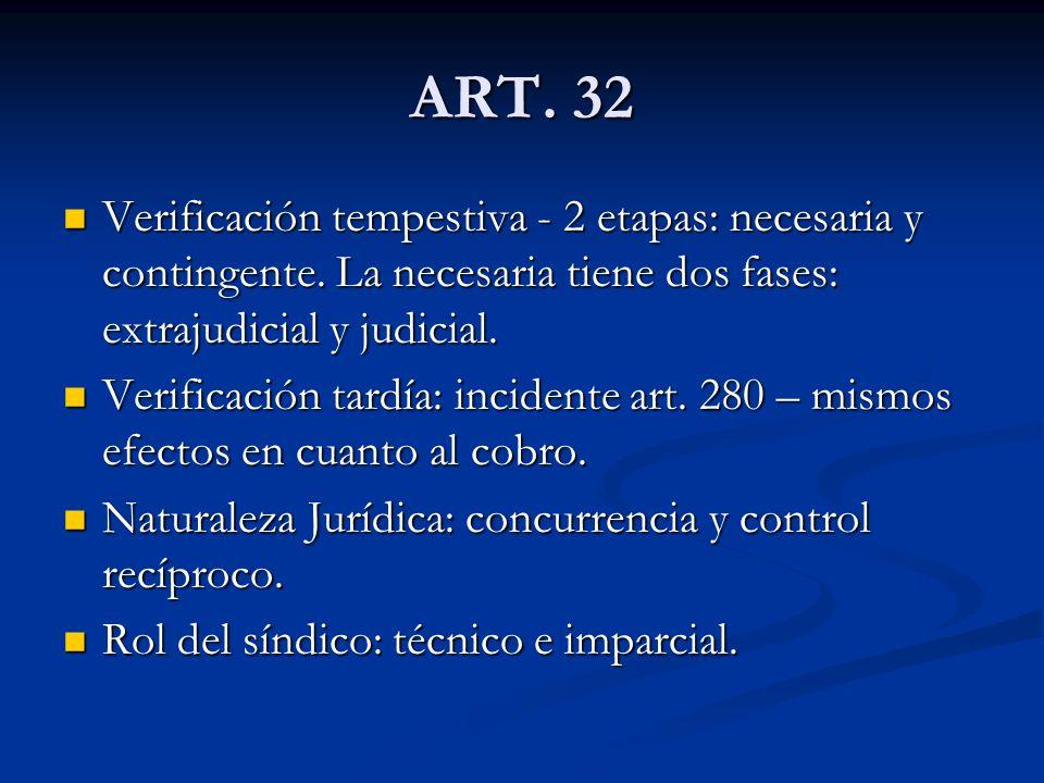 ART.32 Verificación tempestiva - 2 etapas: necesaria y contingente.