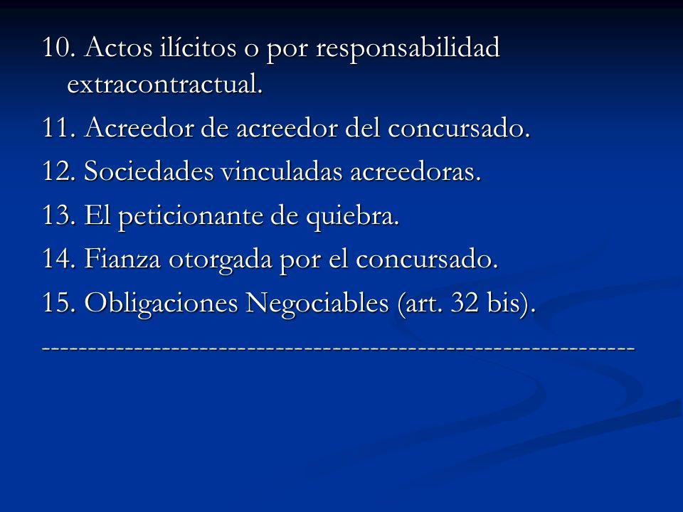 10.Actos ilícitos o por responsabilidad extracontractual.